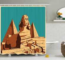 Egyptian Shower Curtain Vintage Poster Sphinx Pyramids Giza Ancient Famous Monument Cairo Bathroom Set Teal Light Brown(China)