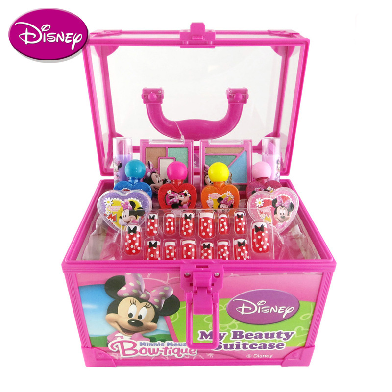 Disney Pretend Play Beauty Fashion Toys Mickey Hyun Beauty Makeup Suit Water soluble cosmetics Children's makeup toys