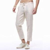 2019 Male Pencil Pants Summer Mens Linen Capri Pants Lightweight Slim Legs Casual Pants Men High Quality Linen Cotton Trousers