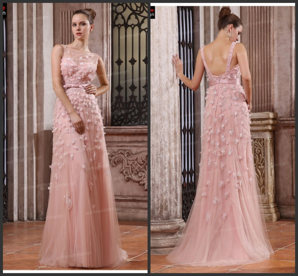 2017 Elie Saab Eveing Dresses Formal Gown Pink Sheer Scoop Tulle Handmade Flower Trimmed Long Stunning Prom Party Dress In Evening From Weddings