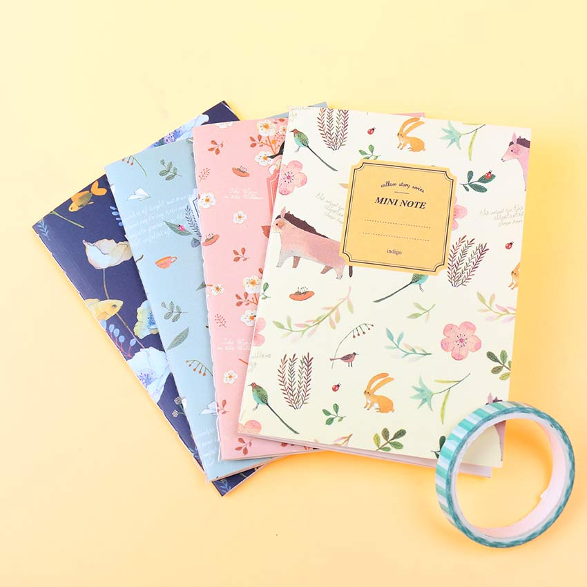 4PCS/Set Kawaii Cute Flowers Birds Animal Notebook Painting of Diary Book Journal Record Office School Supplies