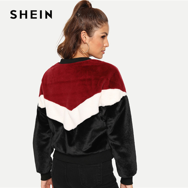 SHEIN Multicolor Weekend Casual Chevron Fuzzy Teddy Colorblock Zipper Jacket 2018 Autumn Streetwear Women Coat And Outwear 2