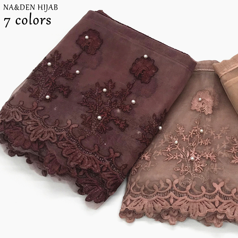 NEW Hot Sale Lace Hijab Scarf Pearl Embroidery Flower Scarves And Shawl Soft Women Fashion Muslim Scarfs Islamic Hijabs 10pcs