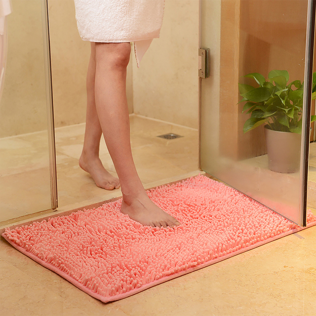 Chenille Bath Mat Toilet Carpet Mats And Rugs For Bathroom Water Absorbing Rug Kitchen Carpets Bedroom