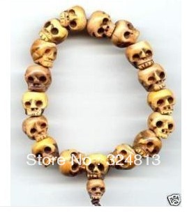 Tibetan Bone Carved Skull Prayer Beads Bracelet