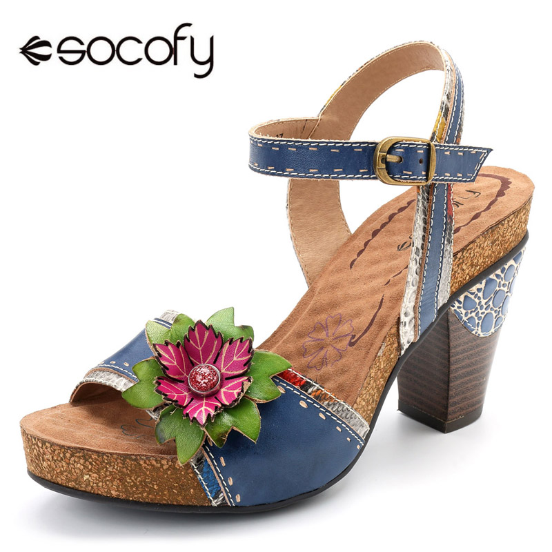 Socofy Genuine Leather Bohemian Sandals Women Shoes Handmade Flower High Heels Platform Sandals Summer Shoes Sandalias Mujer New handmade genuine leather women s shoes vintage flower cutout sandals hole shoes platform female shoes free shipping