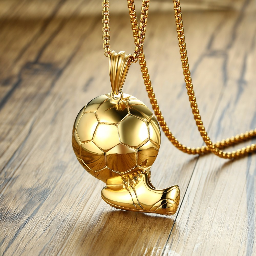phil on jumbo patno linked football steel chain charm necklace stainless d