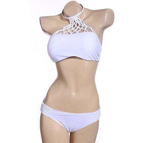 Women s Sexy Solid Swimwear Mesh Crochet Crop Tops Bikini Swimsuit Beach Bathing Suit