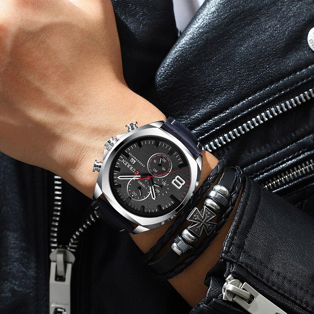 Image 5 - CURREN 2019 Fashion Mens Sport Watch Men Analog Quartz Watches Waterproof Date Military Multifunction Wrist Watches Men ClockQuartz Watches   -