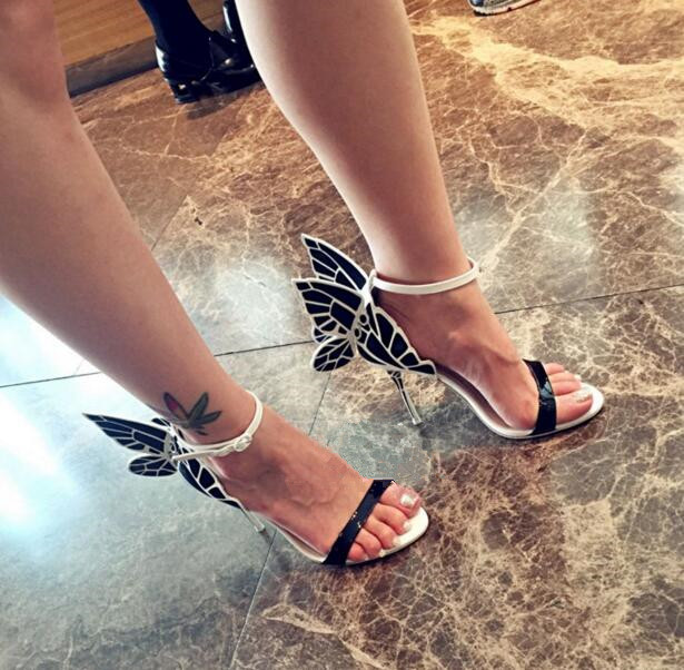 New Fashion White And Black Patent Leather Mixed Women Butterfly Wing Sandals Sexy Party Stiletto Ladies Wedding High Heels