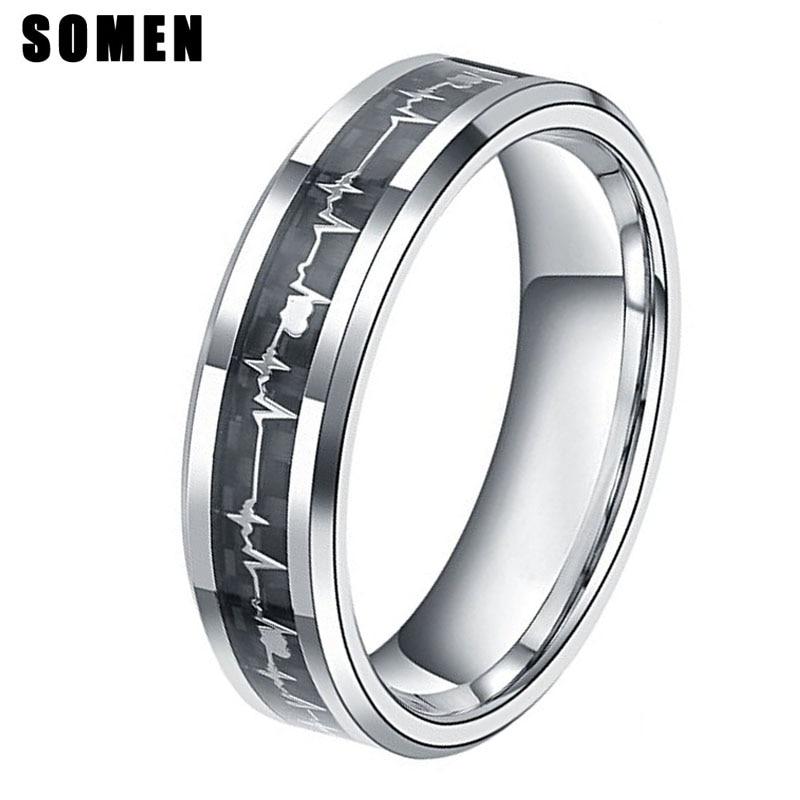 6MM Heartbeat Carbon Fiber Inlay ECG Titanium Ring Beveled Edges Women Wedding Band Engagement Rings Fashion Female Jewelry Anel