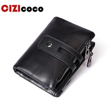 Men Wallets Male Purse 100% Genuine Leather Wallet With Coin Pocket Zipper Short Credit Card Holder Wallets Men Leather Wallet цены