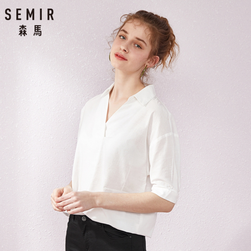 SEMIR Short sleeve white shirt women summer 2019 new lapel V neck shirt simple solid color students fresh relaxed blouse in Blouses amp Shirts from Women 39 s Clothing
