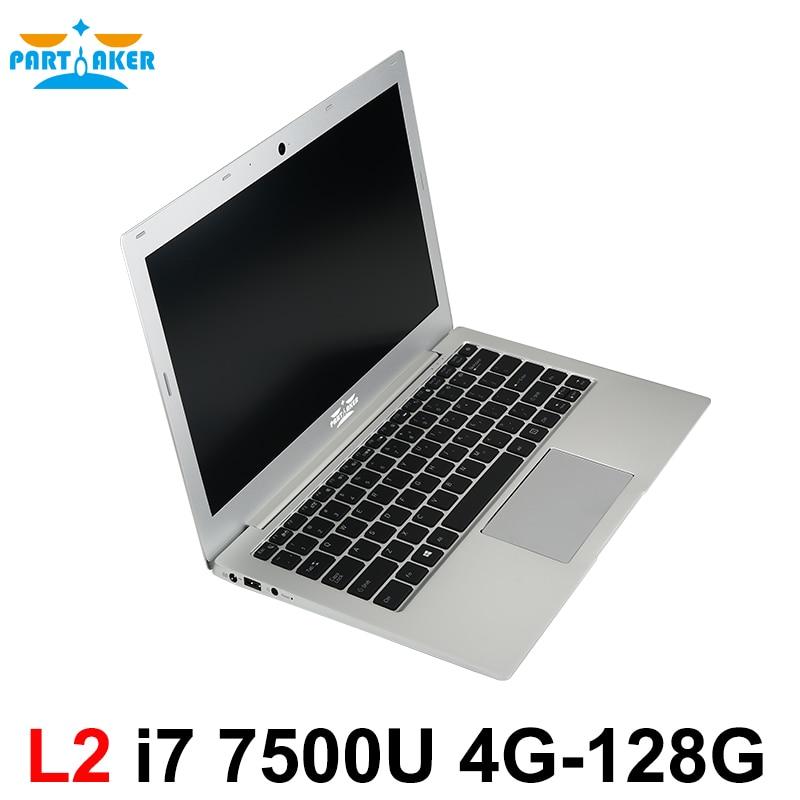 Partaker L2 Windows 10 Laptop Computer Notebook PC 13.3 Inch Core I7 7500U 8G Ram 256G SSD Backlit Keyboard 1920*1080 Ultrabook 13 3 inch windows 8 10 laptop 4g 128gb 2 0ghz in tel i7 daul core notebook wifi hdmi ultrabook netbook computer