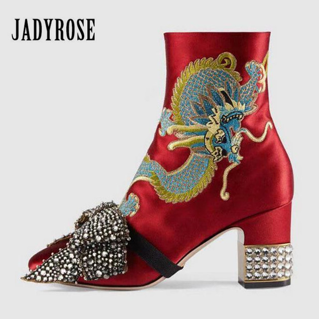 25 Rhinestone Boots jady For Embroidery Women In Autumn Us81 Bowtie Mujer Ankle Decor Satin 35Off Rose Red High Heel Botas Dragon YW9EIeDH2
