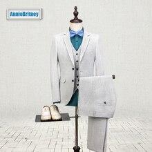 2017 Latest Coat Pant Designs Ivory Linen Men Suit Slim Fit three Piece Tuxedo Custom Style Suits Groom Prom Blazer Terno Masculino