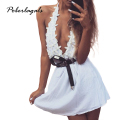 Fashion 2106 Summer dresses women White lace sexy low-cut halter strap dress folds sexy party short casual beach dress sundress