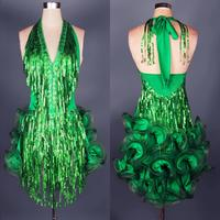 Latin Dance Dress Green Professional Costume For Women Fringe Samba Costume Colorful Womens Ballroom Competition Dresses