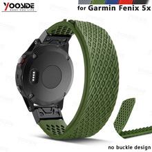 YOOSIDE No buckle Design 26mm Quick Fit Replacement Soft Silicone Sport large Watch Band Strap for Garmin Fenix 5X/3/3HR