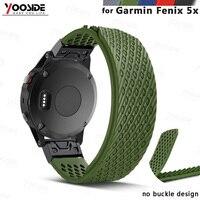YOOSIDE hiçbir toka tasarım 26mm hızlı Fit yedek yumuşak silikon spor büyük saat kayışı kayışı Garmin Fenix 5X /3/3HR|garmin band|garmin replacement bandgarmin watch band -