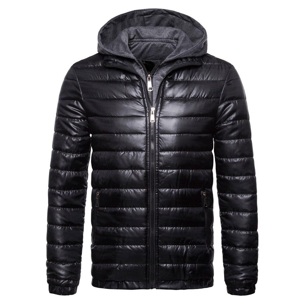downs jackets men 2018 winter new cotton men's solid color hooded men's jacket cotton long coat multicolor