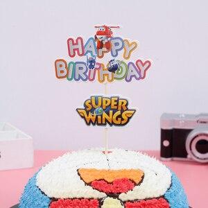 Image 2 - 1 STKS/PAK Baby Shower Party Gelukkige Cake Toppers Super Vleugels Thema Kids Gunsten Cupcake Decoratie Vlag Evenementen Levert