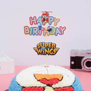 Image 2 - 1PCS/PACK Baby Shower Party Happy Birthday Cake Toppers Super Wings Theme Kids Favors Cupcake Decoration Flag Events Supplies