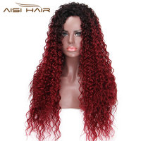 I S A Wig 30 Inches Long Synthetic Ombre Afro Curly Wigs For Black Women African