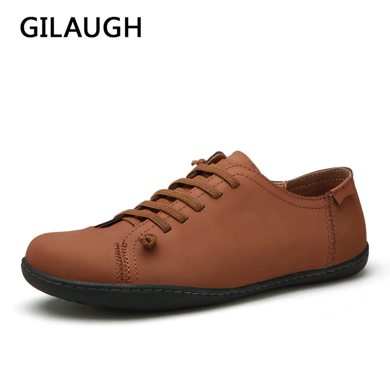 GILAUGH 2017 Men Shoes Leather Lace-Up Fashion Retro Design Casual Shoes,Spring Autumn New Style Shoes Men z suo men s shoes the new spring and autumn ankle leather casual shoes fashion retro rubber sole lace mens shoes zsgty16066