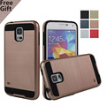 For Samsung S5  Neo Hybrid Tough Slim Armor Silicone TPU + Brushed Plastic Case for samsung Galaxy S5 I9600 Soft Cover