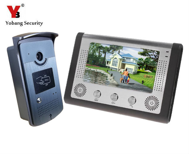 Yobang Security 7 Video Intercom Door Phone Doorbell Kit LCD Monitor Night Vision Wired Apartment Audio Visual 2 Way Intercom jeatone 7 lcd monitor wired video intercom doorbell 1 camera 2 monitors video door phone bell kit for home security system