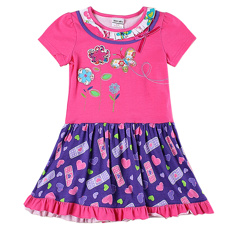retail 2016 new nova kids wear summer causal short sleeve butterfly girl dress baby girl clothes new kids children dress kids clothes 2016 summer style short sleeve printded lotila floral girl dress nova kids baby girl cloting child wear dress