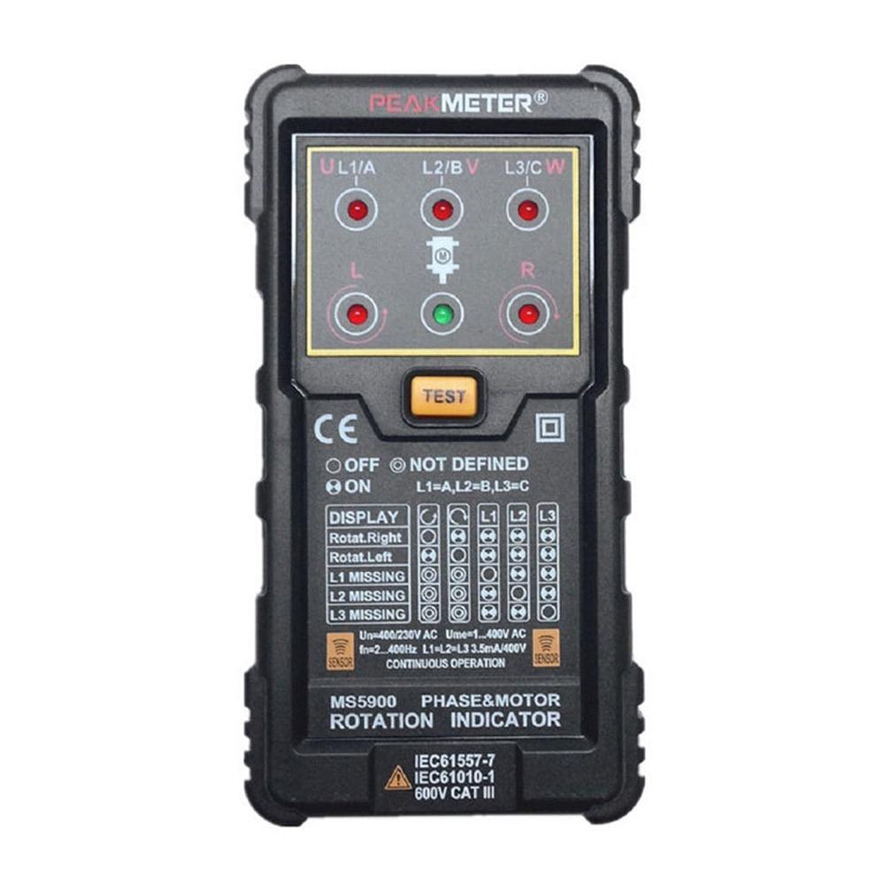 New PEAKMETER MS5900 Three Phase Rotation Indicator - Black new