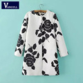 Vangull Europe wind Spring autumn new fashion leisure coat embossed roses long outwear coats female Warm cloak overcoat