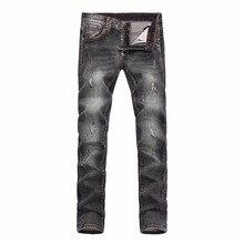 skeleton embroidery designer Brand men's trousers straight hole boy jeans man Little feet pants High quality straight-leg pants