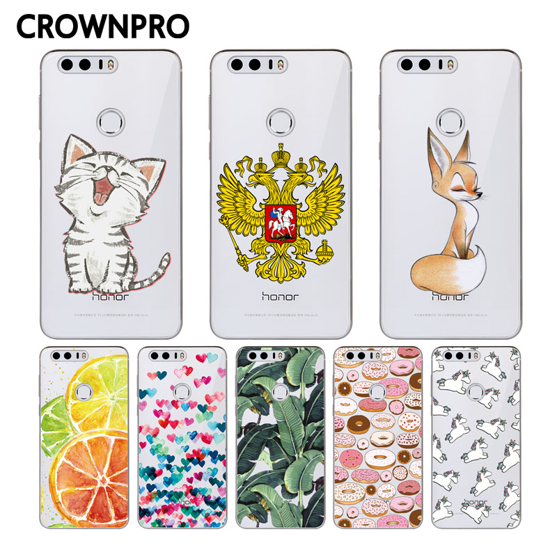CROWNPRO Silicone Case For Huawei Honor 8 Patterns Case Cover For Huawei Honor 8 Soft TPU Case Back For Huawei Honor8 Phone