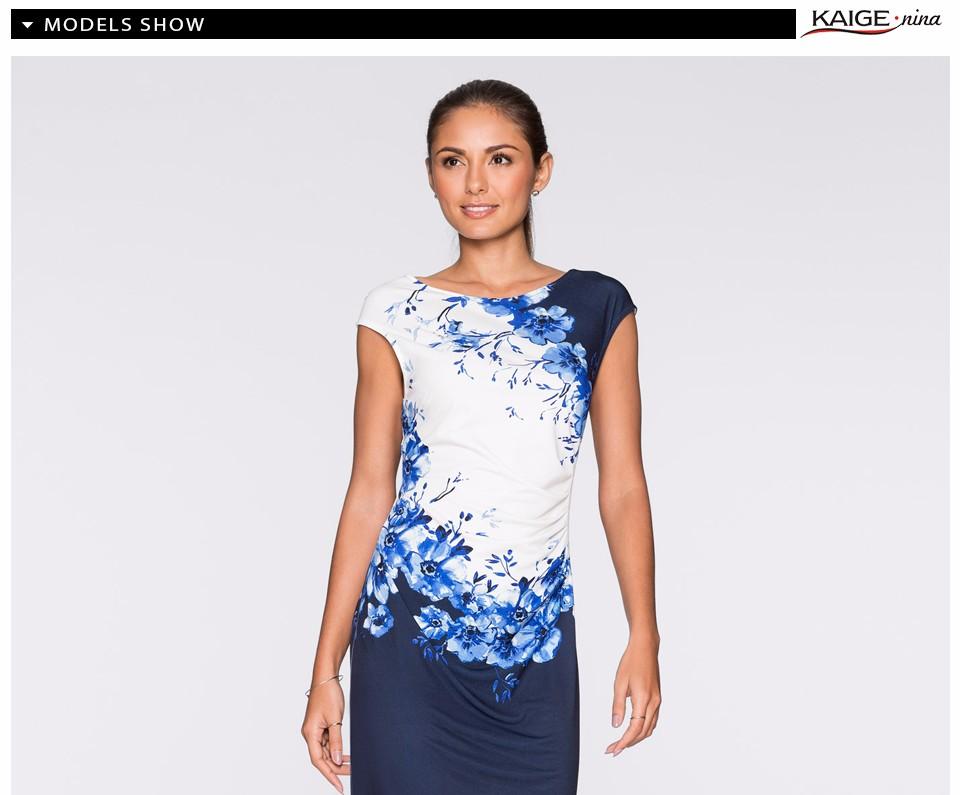 17 Kaige Nina dress Women bodycon dress plus size women clothing chic elegant sexy fashion o-neck print dresses 9026 5