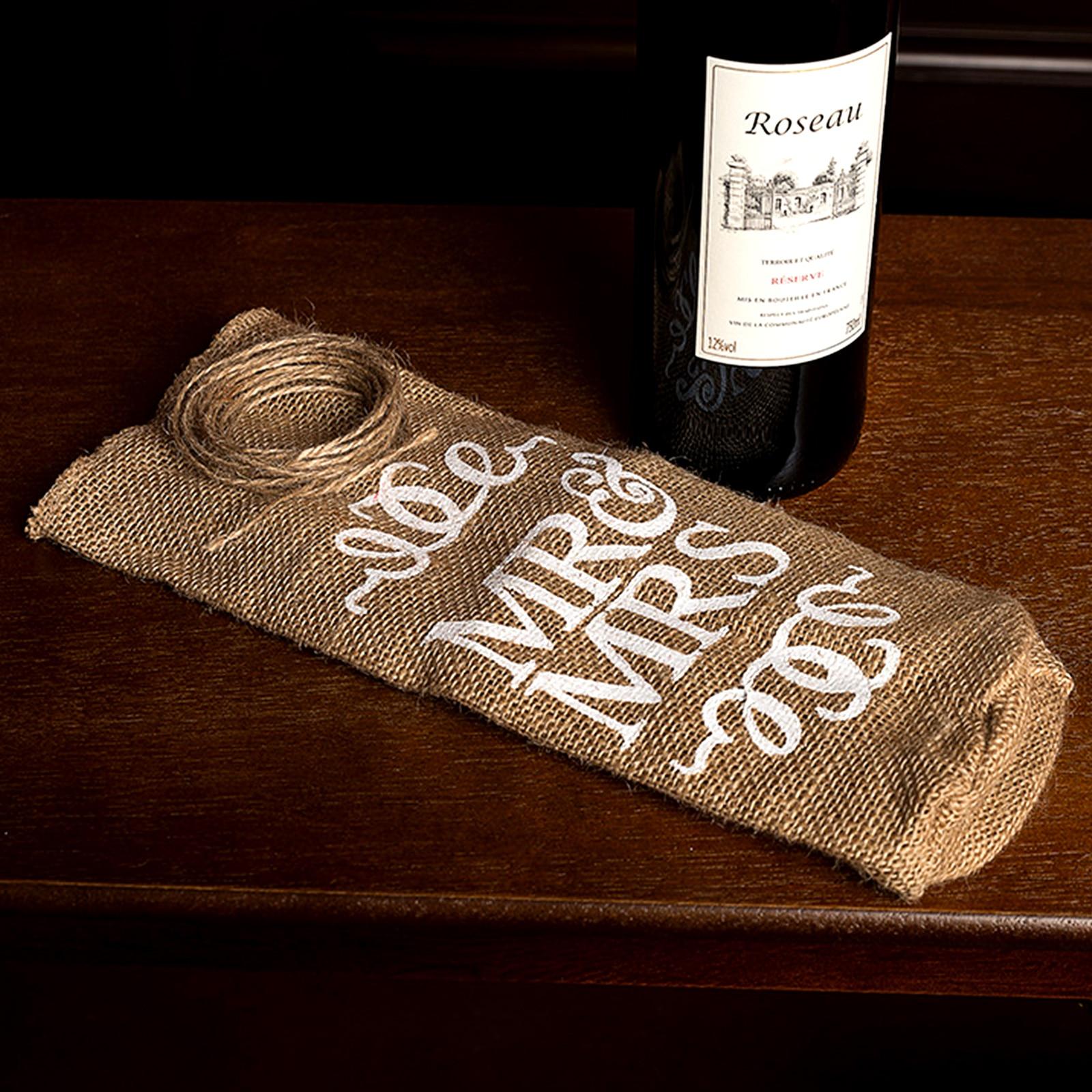 Natural Hessian Jute Wine Gift Bottle Bag Mr/&Mrs Wedding Party Favor Decor