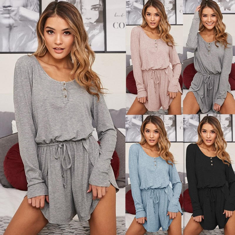 Womens Long Sleeve Short Pant Solid Casual Home Sport Loose Jumpsuit Outwear