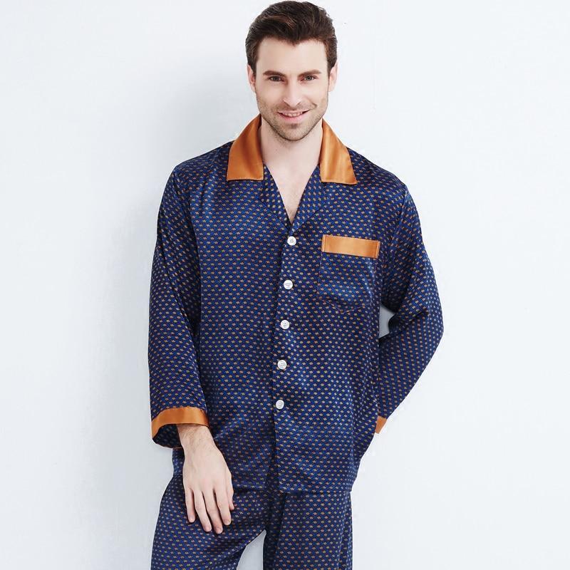 Brand Heavy Silk Pajamas Men's Long Sleeve Pyjamas Male Luxury 100% Silk Sleepwear Pajama Sets Men Homewear Sets Free Shipping