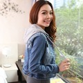 2015 plus size denim outerwear female slim long-sleeve top with a hood denim coat short design jacket JX164