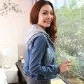2015 plus size denim vestuário feminino top de manga comprida fina - com um capuz casaco denim desenho curto jaqueta JX164