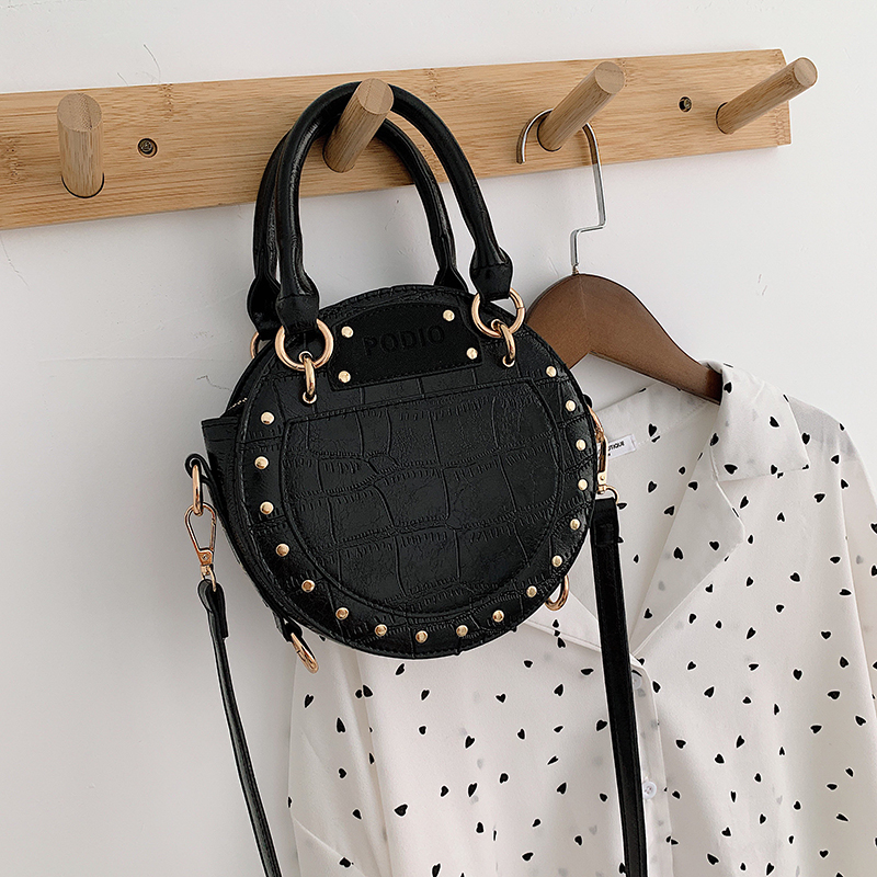 Fashion Newest Design Women's Crocodile Pattern Rivets Small Handbag Messenger Mini Shoulder Bag Women's Vintage Cute Bag