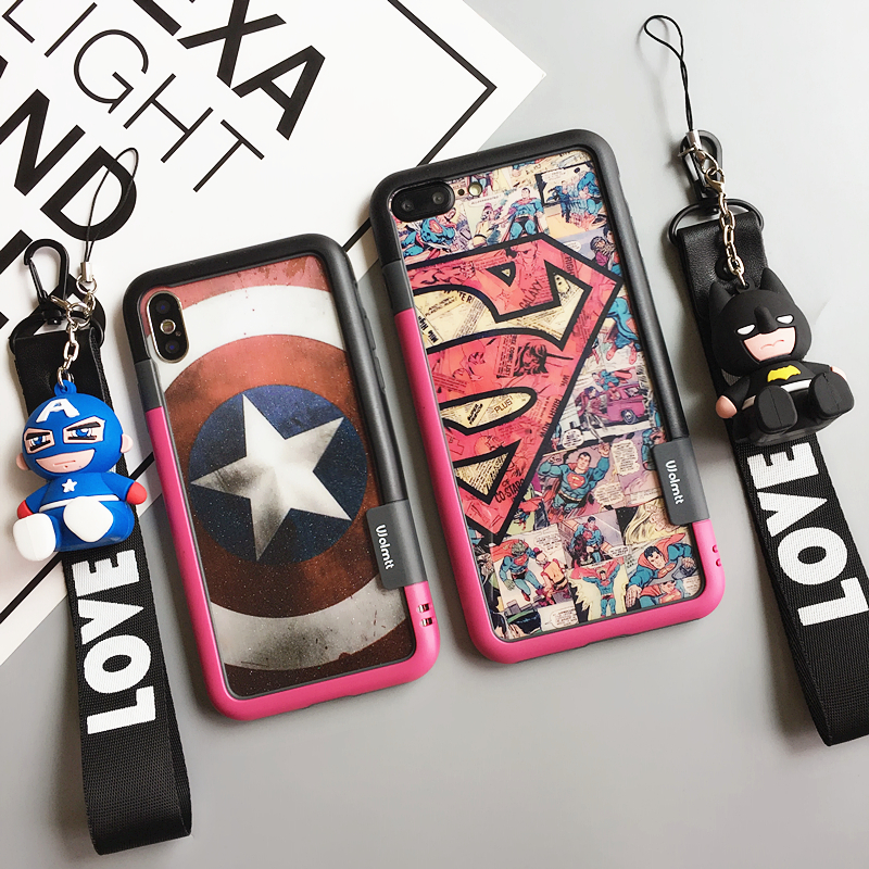Pour iPhone 7 7 Plus Super homme Capitaine Trempé Écran En Verre film (F & B) + DOUX PARE-CHOCS pour iPhone X 8 8 PLUS 6 S 6 SPlus héros Fudas