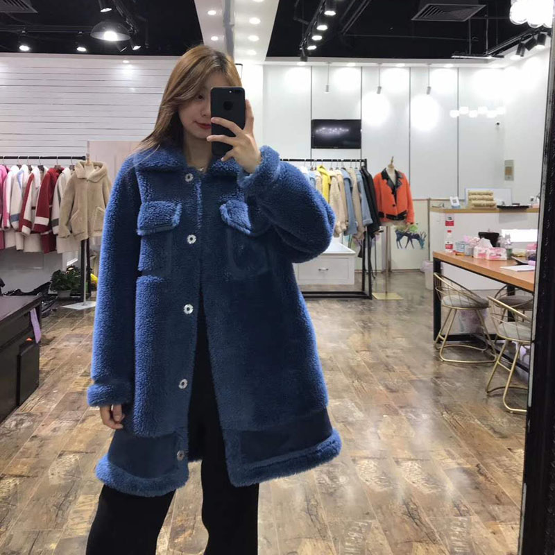 High quality abrigos mujer 70% real wool fur jacket faux leather festival women clothes winter parka sheep fur long korean style