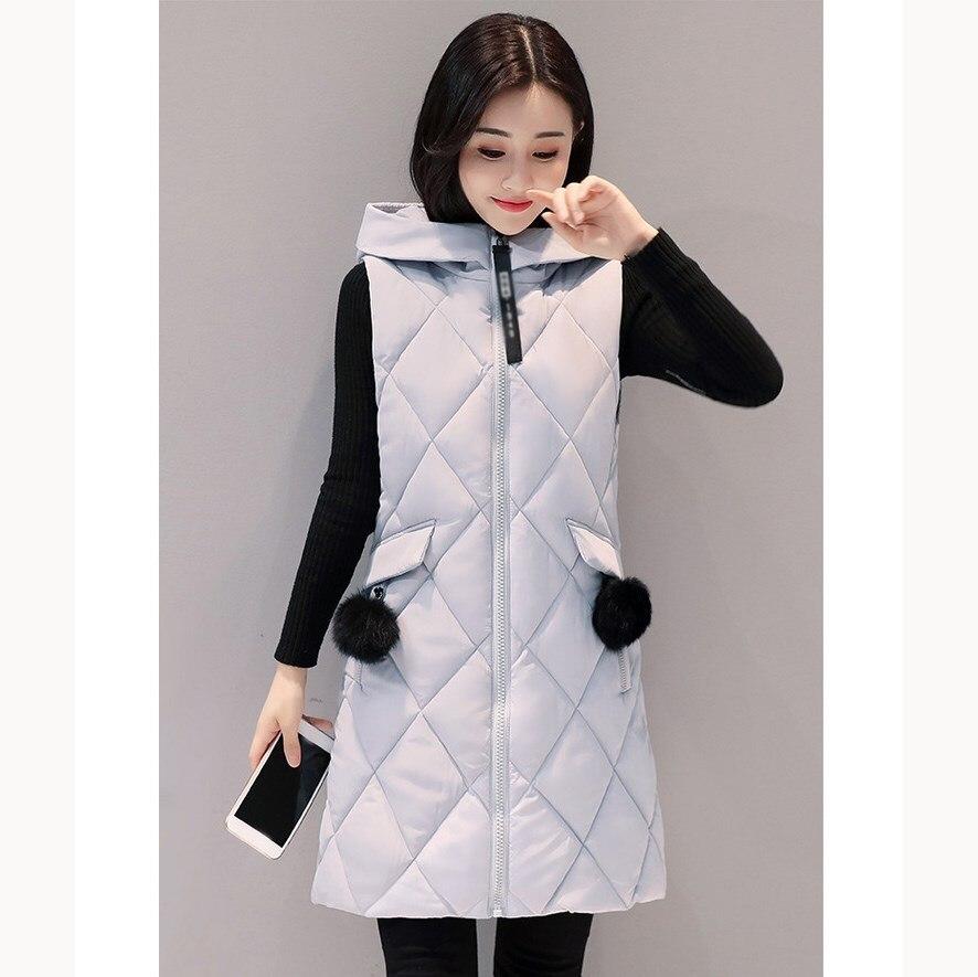 Winter Women Long Parka Vest Thicken Warm Cotton Padded Parka Casual Female Sleeveless Hooded Vest