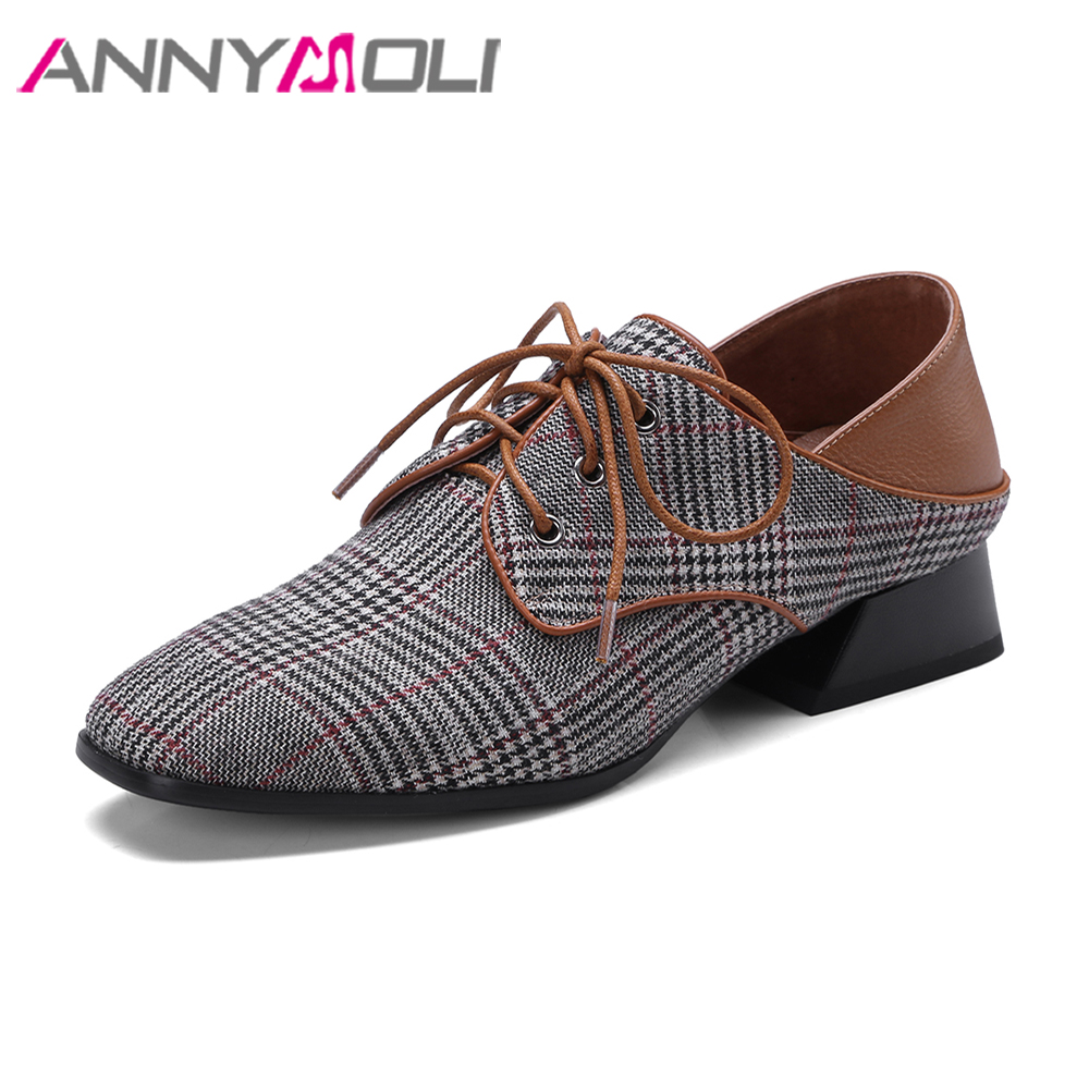ANNYMOLI обувь из натуральной кожи квартир женщин плед зашнуровать Весна обувь скольжение квадратный носок ткань плоские туфли дамы мулы большой размер 42