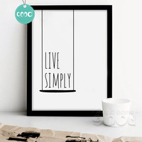 Simple Life Quote Canvas Art Print Poster Wall Pictures For Home Decoration Wall Decor 250