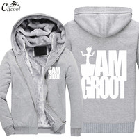 2018 New Men Hoodies White I AM GROOT Printed Sweatshirts Plush thickening Popular Fitness Cool Marvel Sweatshirts