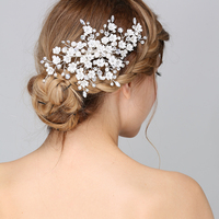 Bridal Wedding Crystal Tiny Flower Pearls Hair Clip Hair Jewelry Costume